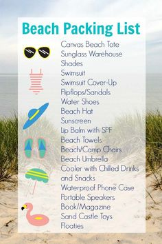 Going to the beach this summer? Here is a handy packing list with all your beach essentials. If you need a new pair of sunglasses, check out Sunglass Warehouse. You'll get off a single item with the promo code through July by Maven on behalf of Beach List, Packing List Beach, Beach Trip, Packing Tips, Beach Bum, Sunscreen Lip Balm, Spf Lip Balm, Singles Holidays, Beach Essentials