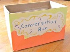ESL Conversation Idea Box - what a FUN way to practice language in the classroom! Could be speaking or writing prompts