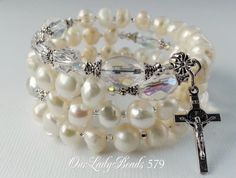 Fresh Water Pearls White Rosary Wrap Bracelet,Rosary,Bridal,Confirmation Gift,Catholic Jewelry,Religious Gifts,#579 by OURLADYBeads on Etsy