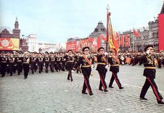 Soviet Army WWII veterans who marched down Red Square in the 1945 Moscow Victory Parade once again march down Red Square at the 1985 Moscow Victory Day Parade.
