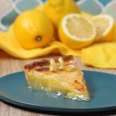 Lemon Shaker Pie Recipe by Tasty (uses Meyer lemons) Lemon Curd Dessert, Lemon Desserts, Lemon Recipes, Pie Recipes, Just Desserts, Sweet Recipes, Dessert Recipes, Cooking Recipes, Health Desserts