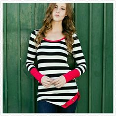Alexis Lee Striped Top 97% rayon 3% Spandex Tops Tees - Long Sleeve