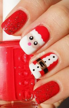 25 Christmas Nail Art Designs That You Will Love To Copy - Nail Polish Addicted Christmas Nail Polish, Xmas Nail Art, Christmas Gel Nails, Holiday Nails, Nail Art Designs Images, Simple Nail Art Designs, Santa Nails, Christmas Nail Art Designs, Christmas Ideas