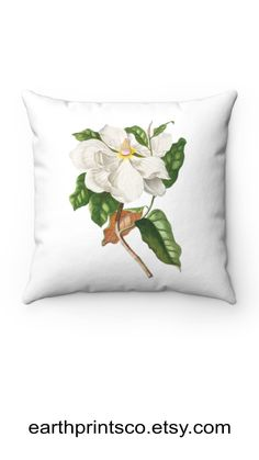 """Floral throw pillow cover / botanical throw pillowcase / Magnolia flower cover for accent pillows ✻ Pillow cover / Pillowcase ✻ floral botanical design ✻ Magnolia Flower print ✻ Available 4 sizes: 14""""x14"""", 16""""x16"""", 18""""x18"""", 20""""x20"""" ✻ Pillow is not included ✻ 100% Polyester ✻ Double-sided print ✻ Concealed zipper Square Pillow Covers, Throw Pillow Covers, Pillow Cases, Floral Throw Pillows, Accent Pillows, Magnolia Flower, Flower Prints, Zipper, Flowers"""