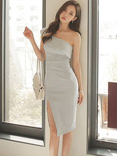Sexy Chic Off Shoulder Slit Wrap Dresses Korean Fashion Dress, Ulzzang Fashion, Kpop Fashion Outfits, Girl Fashion, Fashion Dresses, Trendy Dresses, Elegant Dresses, Sexy Dresses, Cute Dresses