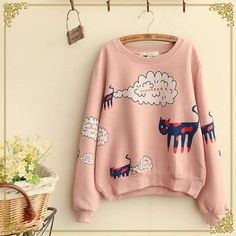 YesStyle Fairyland Cat Printed Pullover