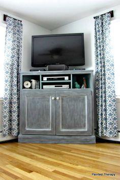 Tall Corner Tv Stand, High Tv Stand, Corner Tv Console, Tall Tv Stands, Corner Tv Cabinets, Corner Media Cabinet, Corner Tv Stand Ideas, Unique Tv Stands, Tall Cabinets