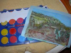 Un panorama di Camerino realizzato all'acquarello a partire da una cartolina...
