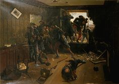Scene of War' 1889. Oil on canvas. Action at Bry-sur-Marne near Paris, 30 November 1870. French troops capturing a house from the Germans. Franco-Prussian War 1870–1871. Charles Eugene Bunel (born 1863) French painter