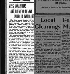 Yuhas Resavy Wedding Pittston Gazette 19 Nov 1931