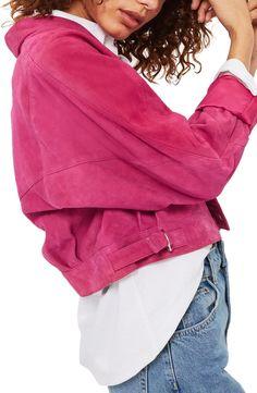 Main Image - Topshop Maggie Crop Suede Jacket