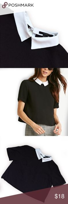 COLLAR BOXY TOP Size S // Lightweight black top with contrast white collar // woven with button and open cutout in back // Gently used, in GUC Forever 21 Tops Blouses