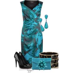 """Teal & Black"" by traceyj12 on Polyvore"