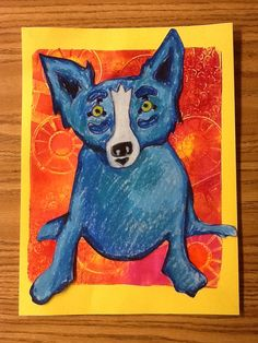 Tints and shades with blue dog. Warm color printmaking with Gelli Arts in the background. Collage together.