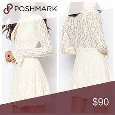 Free People | Lace 'Teen Witch' Dress Lace dress by Free People with lightweight lace throughout. Scoop neckline with keyhole cutout. Lined, Semi-sheer back. Regular fit – true to size. 97% Nylon 3% Spandex. NWT. In the shearling or ivory color. Free People Dresses