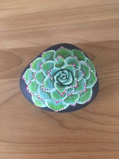 Painted stone Painted rock Succulent painting Dot art