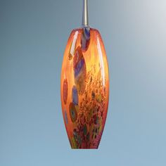 Ciro Matte Chrome Mini Pendant with Red Mosaic Glass and 4-Inch Canopy