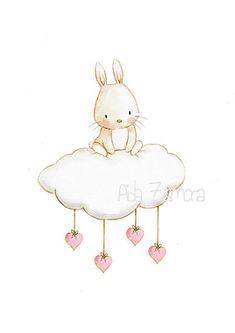 Assiette décorative « Bunny dans le nuage » feuille imprimée. Illust.  Parfait pour chambre de bébé magnifique !  Il sagit dune reproduction de mon illustration originale, imprimée avec des détails sur un papier spécial pour aquarelle de 300 g. blanc naturel mat, dépourvue de cellulose acides et 100 %, ce qui donne lapparence de la peinture originale. Il ninclut pas de filigrane. Lame verticale.  Chacun des tirages est signée à la main par mon.  Enveloppée dans du cellophane pour une…
