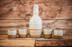 Hand Thrown Handmade Ceramic Mezcal or Whiskey Set with 4 Shot Cups, Made in USA by Hanselmann Pottery
