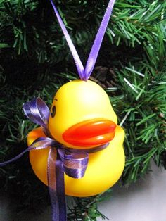 Mama Rubber Ducky Christmas Ornament with Purple Ribbon Bow and Hanger | Wyverndesigns - Seasonal on ArtFire