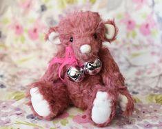Lonnie mohair artist collectible teddy bear, handsewn collectors bear, pink teddy bear