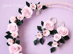Розовые розы из полимерной глины фимо
