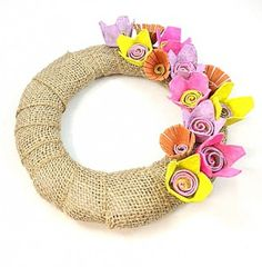 DIY burlap wreath and egg carton flowers. Great for a spring craft for teenager.