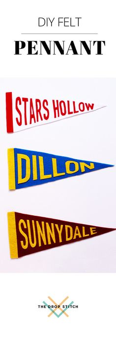 Gilmore Girls, Friday Night Lights, Buffy- which show are you cheering for? Get the DIY felt pennant tutorial at The Drop Stitch and support your home town team.