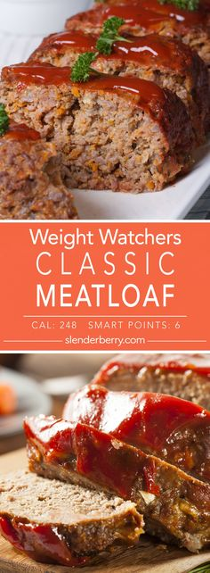 Weight Watchers Classic Skinny Meatloaf Recipe - 6 Smart Points 248 Calories