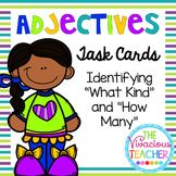 """Adjectives Task Cards/ Scoot Activity: Students will practice identifying adjectives that describe """"what kind"""" and """"how many"""" with these colorful cards. Grades 1-3 ~ The Vivacious Teacher (CCSS: L.1.1f, L.2.1e, L.3.1a)"""