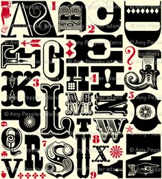 """Woodtype Alphabet"" fabric in black & red colorway by Pennycandy, Kona® cotton, $18 per yard"
