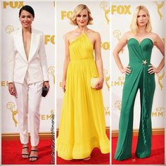 #TatianaMaslany in #BouchraJarrar #SophiaWebster heels #AmandaPearl clutch and #FredLeighton jewelry #TaylorSchilling in #StellaMcCartney #StuartWeitzman heels and #Niwaka jewelry #JanuaryJones in #UlyanaSergeenko #StuartWeitzman heels and #TiffanyAndCo jewelry #Emmys #EmmysWeek
