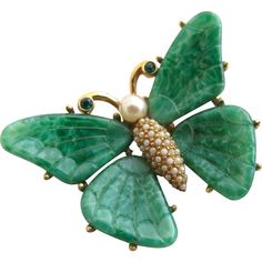 Vintage Ciner Faux Jade Butterfly Pin