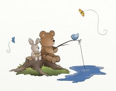 Teddy Bear Nursery Wall Art 11 x 14 Print Fishing Boys Room