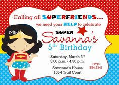 Wonder Woman Superhero Inspired Girl Birthday Party Digital Invitation   katiebellepaperie - Children's on ArtFire
