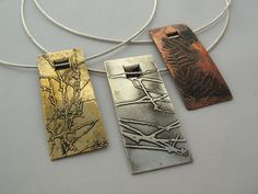 https://flic.kr/p/9H33ax | Wallum Windows Pendants | Sterling silver, brass and copper 2011 20 x 50 x 3mm (pendants)