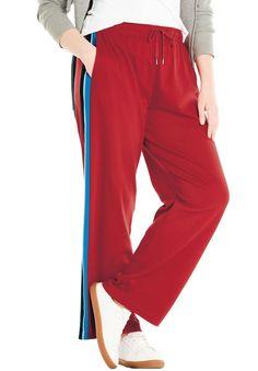44f98522a9405 Side-Stripe Sport Knit Pants - Women's Plus Size Clothing Work Dresses,  Party Dresses
