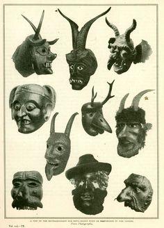 Some of the Masks worn by Perchten Dancers of Salzburg