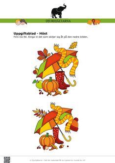 I denna problemlösningsuppgift med hösttema ska barnen jämföra de två bilderna med varandra och ringa in skillnaderna på den nedre bilden. Genom att göra denna övning utvecklar barnet sin problemlösande förmåga genom att se likheter och skillnader. På sidan två kan barnen färglägga höstbilden.