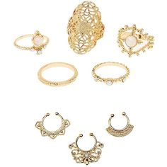 Charlotte Russe Filigree Faux Septum & Statement Rings Set ($7) ❤ liked on Polyvore featuring jewelry, gold, boho jewellery, boho style jewelry, charlotte russe, artificial jewellery and bohemian style jewelry