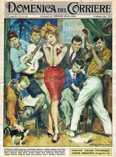 Domenica del Corriere, Feb. 5, 1961. Illustration by Walter Molino-Mina