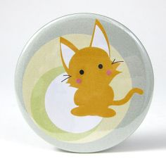 Pocket Mirror  MauMau the Mooncutie Cat on the Moon by maustudio, $6.00