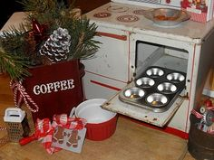 Christmas baking on a toy oven