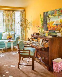 Astonishing Tricks: Interior Painting Living Room Home bathroom paintings light.Interior Painting Living Room Home. Decor, Interior Paint Colors, Interior, Home Decor, Yellow Ceiling, Eclectic Home, House Interior, Room Decor, Farmhouse Side Table