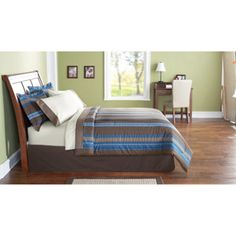 There is no fabric in the bunk room, so kiddos got different colors in their room!  :) Mainstays Bed in a Bag Bedding Set, Blue Stripe