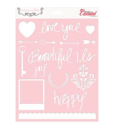 "Basically Essential Stencils 8""X10"" 3/Pkg-Love You"