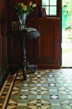 The traditional style Colchester pattern will make a statement in hallways, living rooms, bathrooms, kitchens - wherever they are used! New colours, patterns and shapes means our geometric Victorian style floor tiles look great in traditional and contempo Hall Tiles, Tiled Hallway, Victorian Tiles, Victorian Kitchen, Hall Flooring, Kitchen Flooring, Hallway Inspiration, Style Tile, Interiores Design