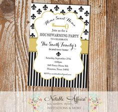 Black and Tan Gold Fleur De Lis Housewarming Party Invitation