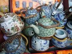 stacked teapots