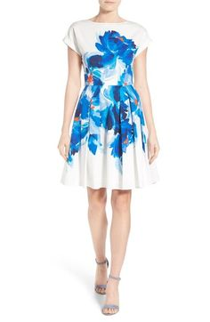 Halogen® Back Bodice Overlay Cotton Fit & Flare Dress (Regular & Petite) available at #Nordstrom